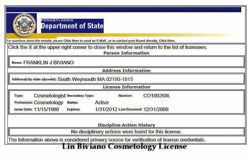 Lin Biviano Cosmetology License
