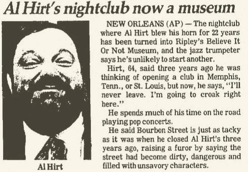 Al Hirt Nightclub Becomes Museum