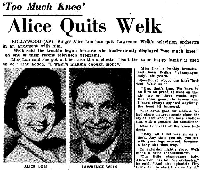 Alice Long Quits Lawrence Welk Show