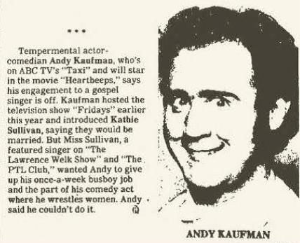 Kathie Sullivan and Andy Kaufman